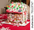 "Gingerbread dough is used to build gingerbread houses similar to the ""witch's house"" encountered by Hansel and Gretel. - stock photo"