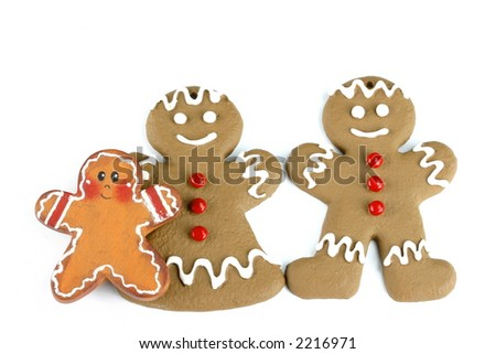 Gingerbread family isolated on white space