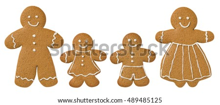Gingerbread family on a white background decorated with icing