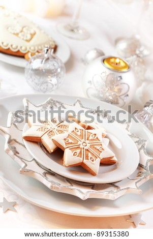 Gingerbread for Christmas in white - stock photo