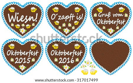 gingerbread heart collection with Oktoberfest related  lettering - stock photo