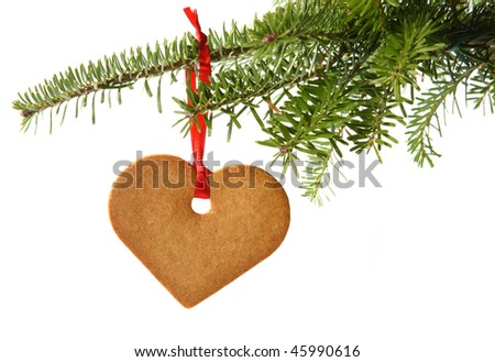 Gingerbread heart hanging under fir branch and isolated against white background - stock photo