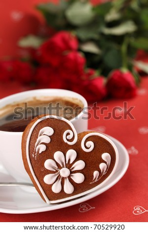 with coffee and red roses on red background. Shallow dof - stock ...