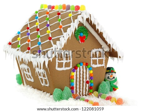 Gingerbread House and Snowman on the White Background - stock photo