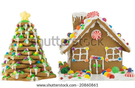 Gingerbread house and tree - stock photo