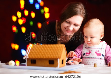 Gingerbread house decoration - stock photo