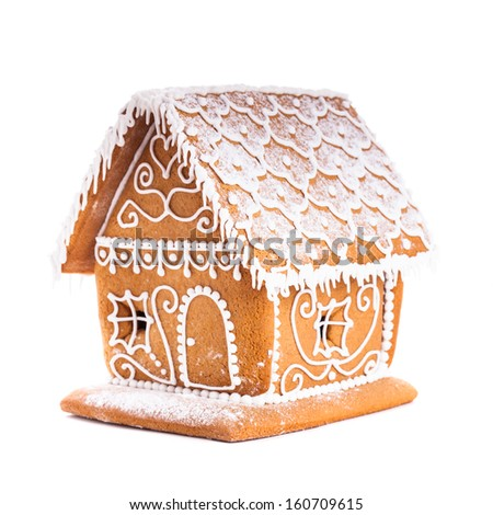gingerbread house isolated on a white backgrond - stock photo