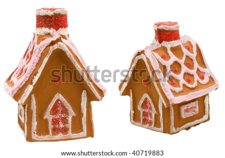 Gingerbread house isolated on a white background, gingerbread house - stock photo