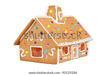 Gingerbread House Isolated On White background