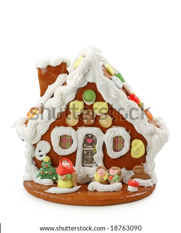 gingerbread house isolated on white background with clipping path - stock photo