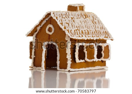 Gingerbread house on white isolated - stock photo