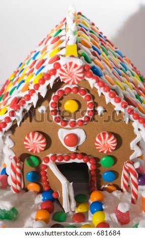gingerbread house with candy decorations - stock photo
