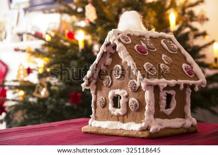 Gingerbread house with christmas tree in background - stock photo