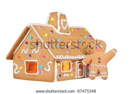 Gingerbread House with Gingerbread Man, Isolated - stock photo