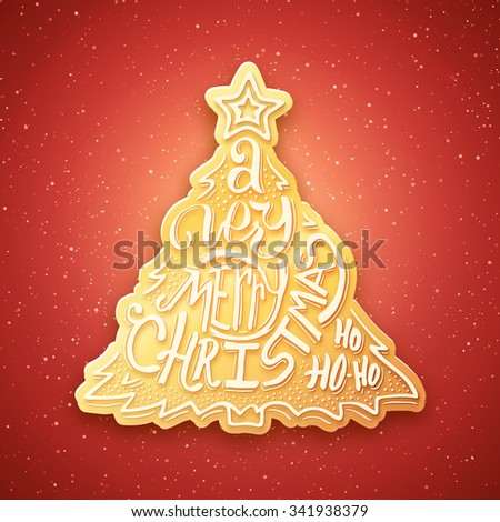Gingerbread in form of fir tree with Merry Christmas typographic inscription. Background with hand lettering for christmas. Doodle christmas tree. Merry Christmas greeting card.  - stock photo