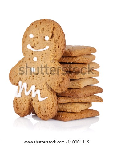Gingerbread man and cookies. Isolated on white background - stock photo