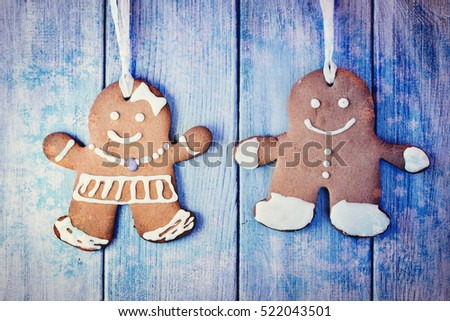 Gingerbread man and woman - cute and sweet christmas cookie. See my portfolio for more  christmas images.
