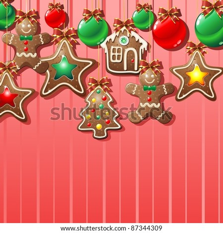 Gingerbread Man Cookie Background - stock photo