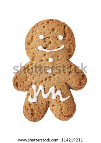 Gingerbread man cookie. Isolated on white background - stock photo