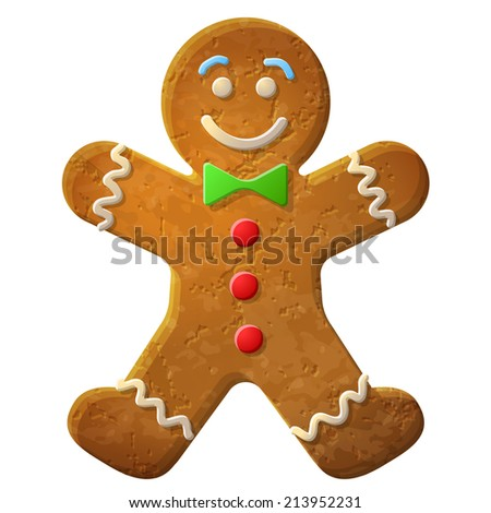 Gingerbread man decorated colored icing. Holiday cookie in shape of man. Qualitative illustration for new year's day, christmas, winter holiday, cooking, new year's eve, food, silvester, etc - stock photo