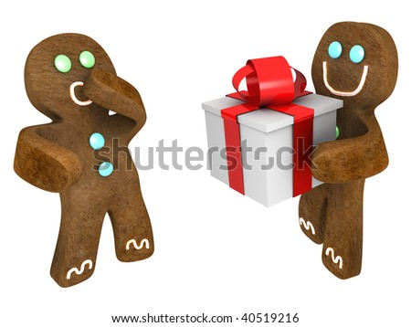 Gingerbread man giving present to friend - stock photo