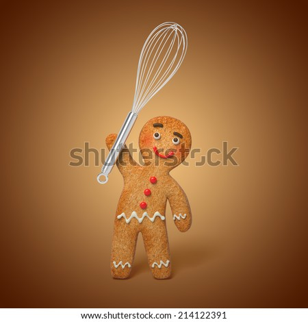 gingerbread man holding cooking beater, 3d cartoon character illustration - stock photo