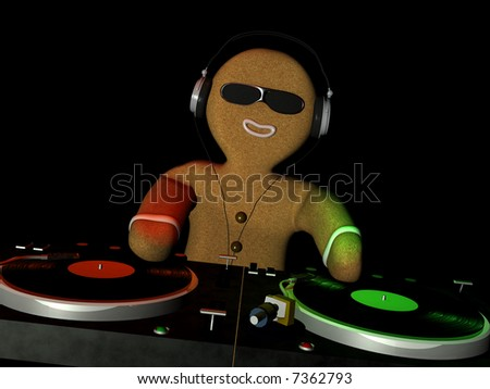 Gingerbread Man is in Da House and mixing up some Christmas cheer.  Turntables with vinyl albums. Isolated on a black background - stock photo