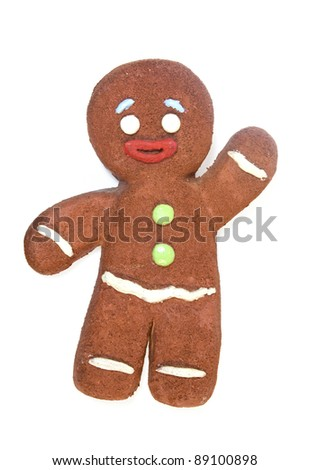 Gingerbread man isolated on white background - stock photo