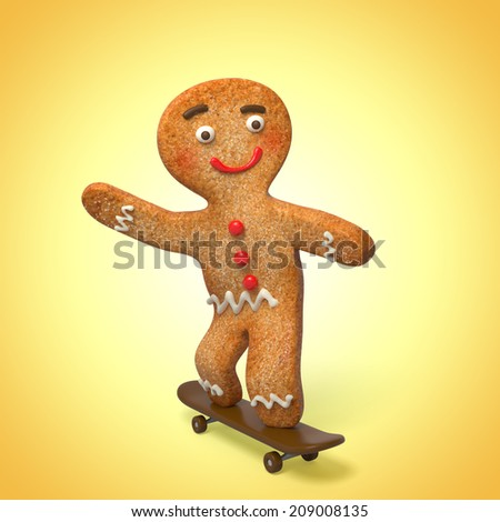 gingerbread man on skate, 3d cook cartoon character - stock photo