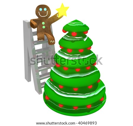 Gingerbread man sitting on ladder holding star while and decorating a Christmas tree - stock photo