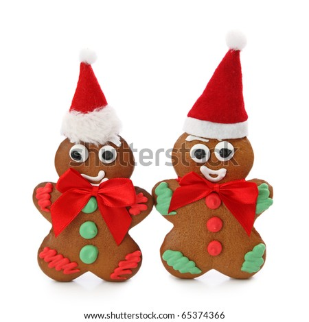 Gingerbread men isolated on white background - stock photo