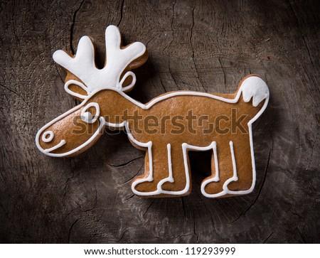 Gingerbread reindeer - stock photo