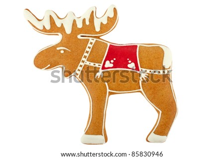 Gingerbread reindeer - stock photo