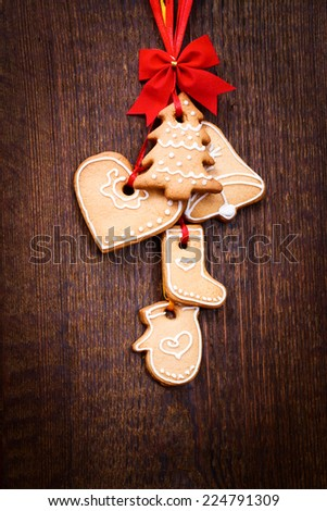 Gingerbread reindeer cookies and christmas decoration  - stock photo
