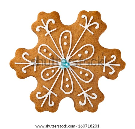 Gingerbread snowflake isolated on white background. Christmas cookie - stock photo