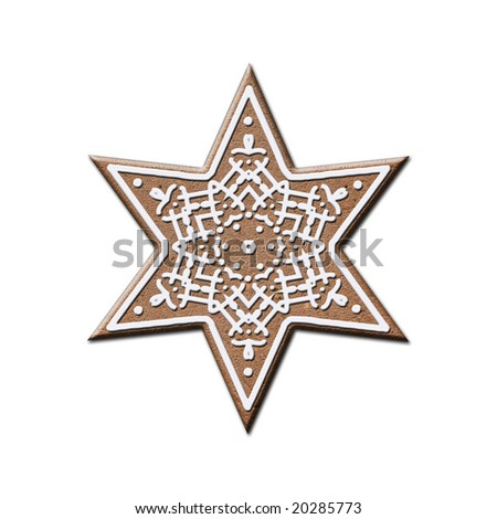 gingerbread star - stock photo
