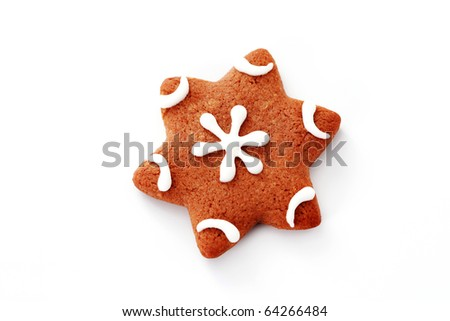 gingerbread star on white background - sweet food - stock photo