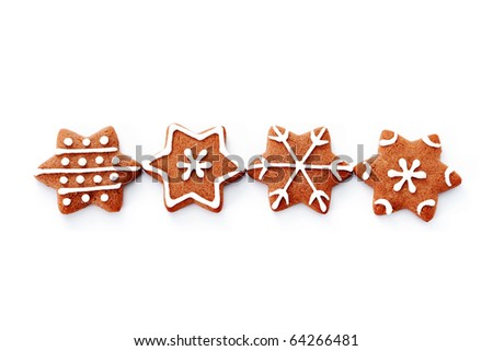 gingerbread stars on white background - sweet food