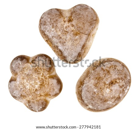 Gingerbreads isolated on white. Clipping path included. - stock photo