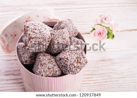 gingerbreads with chocolate  and coconut - stock photo