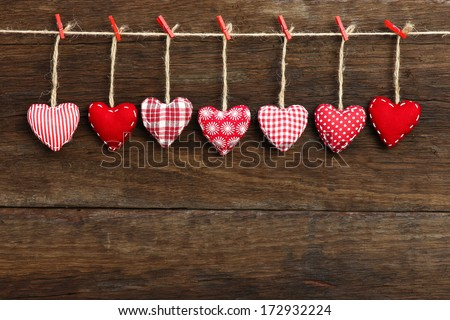 Gingham Love Valentines Hearts Natural Cord And Red Clips Hanging On Rustic Driftwood Texture Background