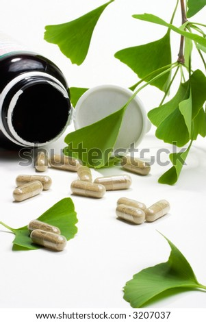Ginkgo Biloba extract pills and fresh Ginkgo Biloba leaves with open container best suited for aged people alternative medicine ads - stock photo