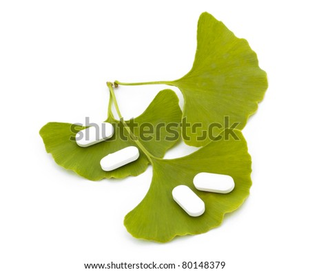 Ginkgo biloba tree leaves and pharmaceuticals.