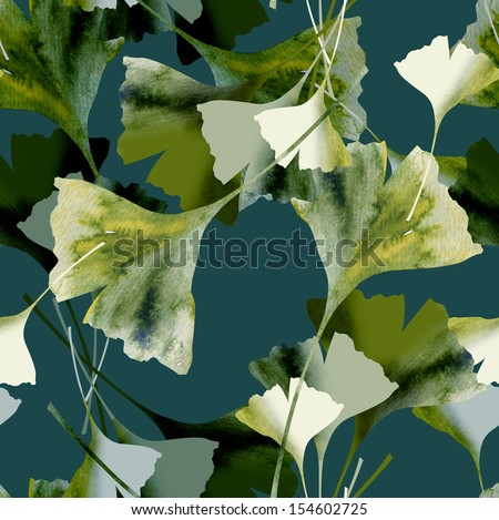 Ginkgo Seamless Pattern - stock photo