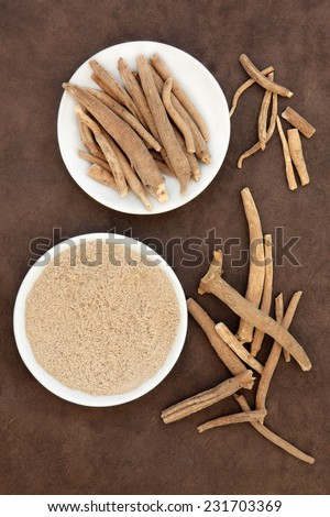 Ginseng ashwagandha herb root and powder over handmade lokta paper background. - stock photo