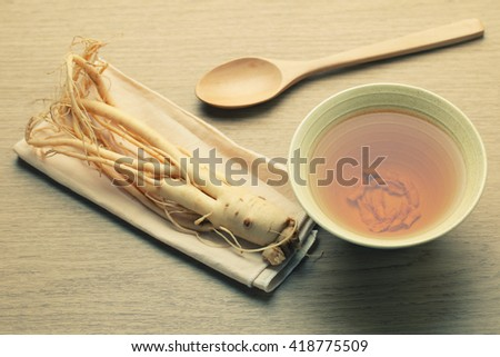 Ginseng tea , The concept of healthy drink - vintage filter.