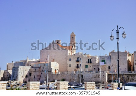 GIOVINAZZO, ITALY - SEPTEMBER 2015: View of the small town of Giovinazzo in the Bari area, as seen in September 2015