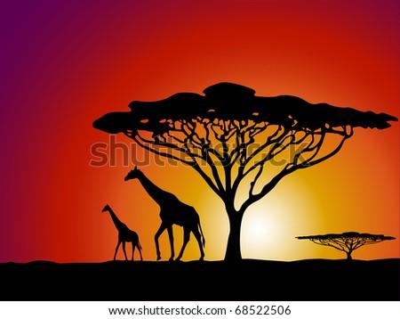 Giraffe African safari illustration raster - stock photo