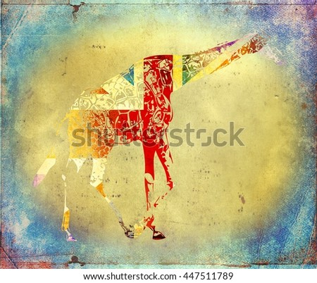 Giraffe flag isolated on vintage background