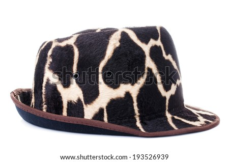giraffe pattern men hat on white background